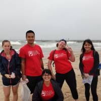 Group of students from the GVSU Soil and Water Conservation Society helping out at Beach Clean Up